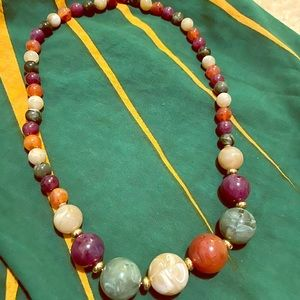 2/15$ Large multi colored beaded necklace